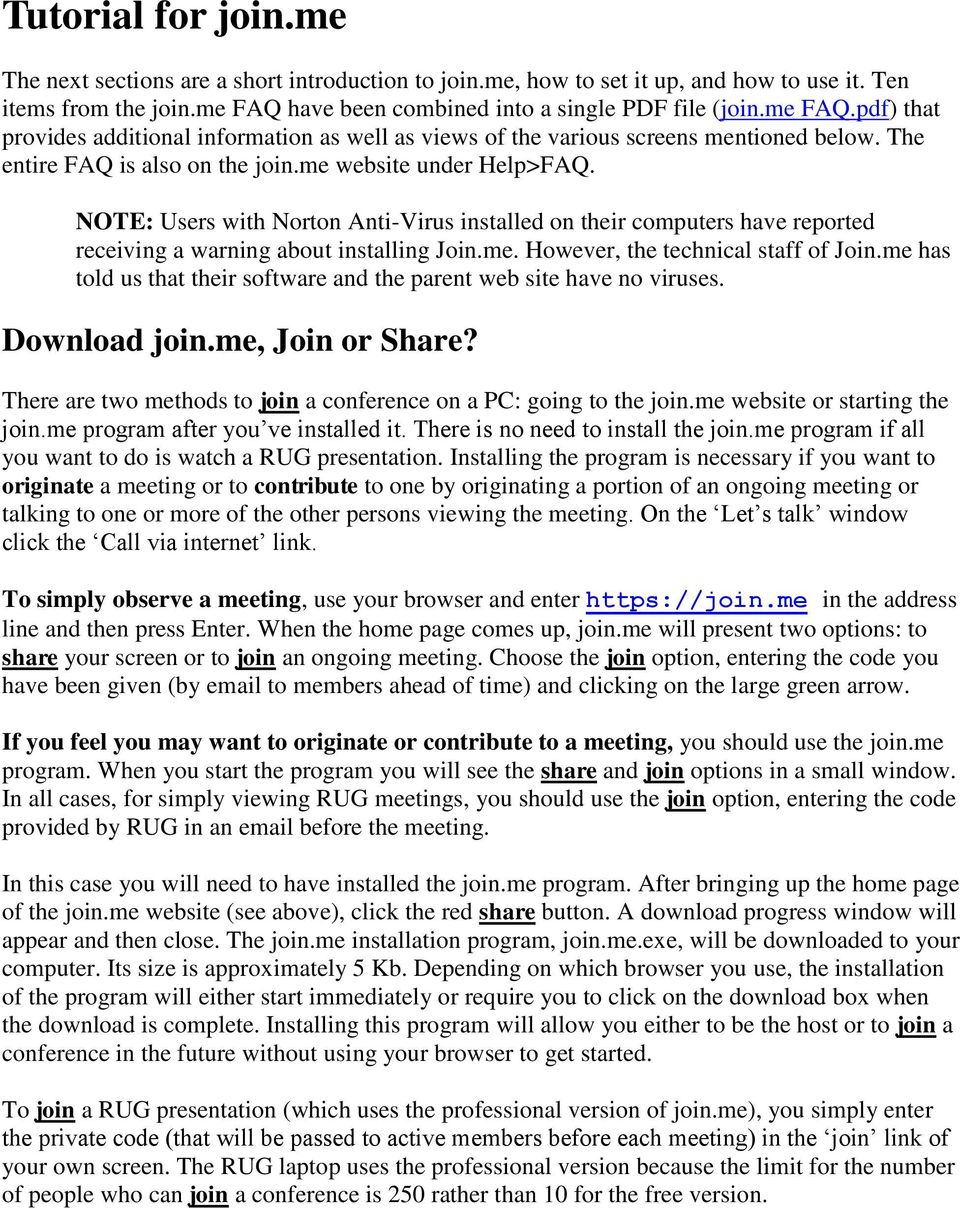 Tutorial for join.me. Download join.me, Join or Share? - PDF