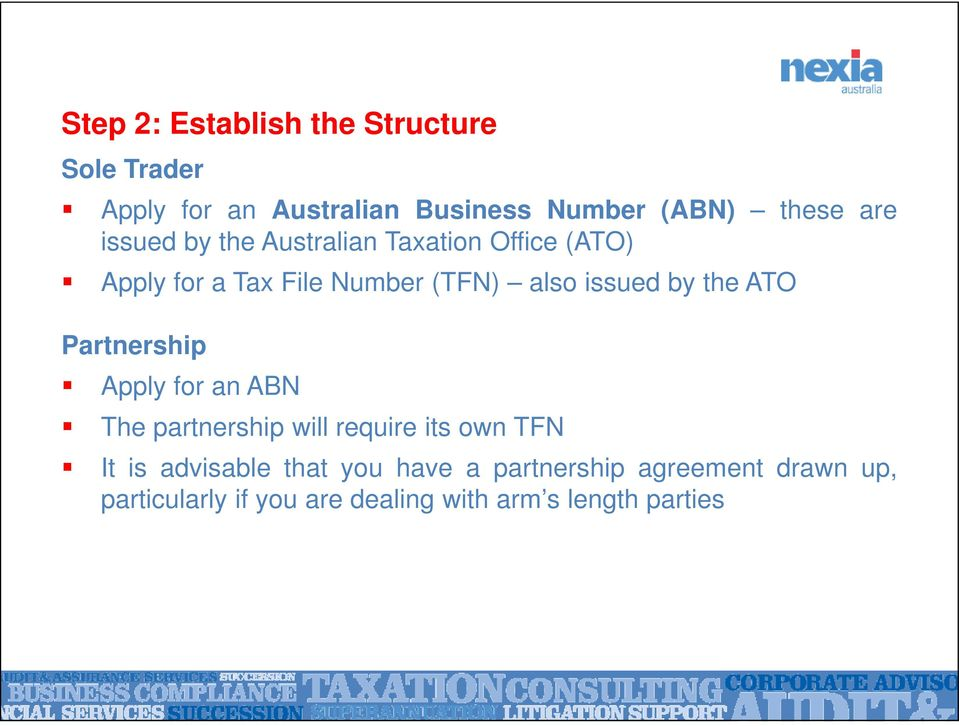 by the ATO Partnership Apply for an ABN The partnership will require its own TFN It is advisable