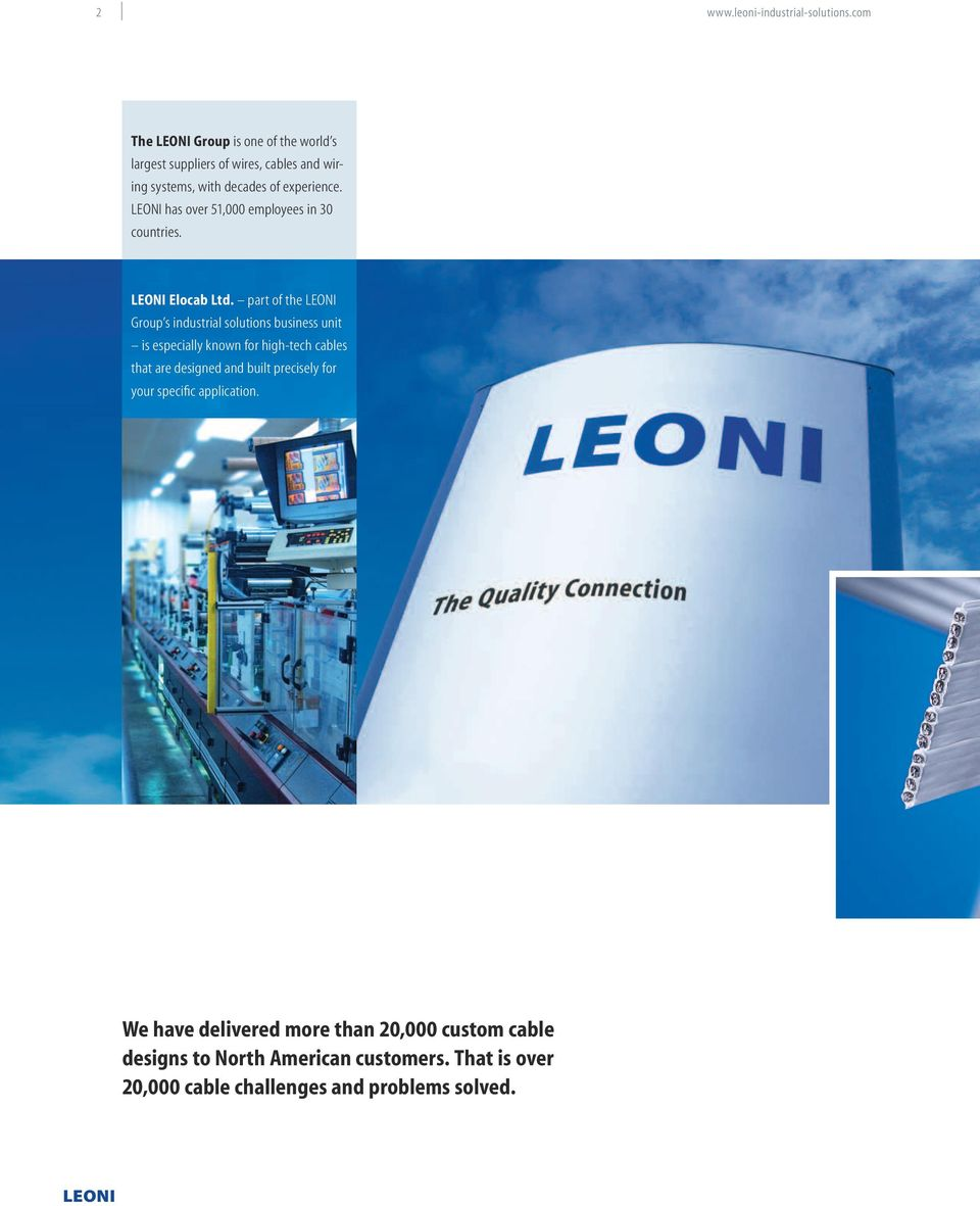 The Quality Connection  LEONI Industrial Solutions Custom