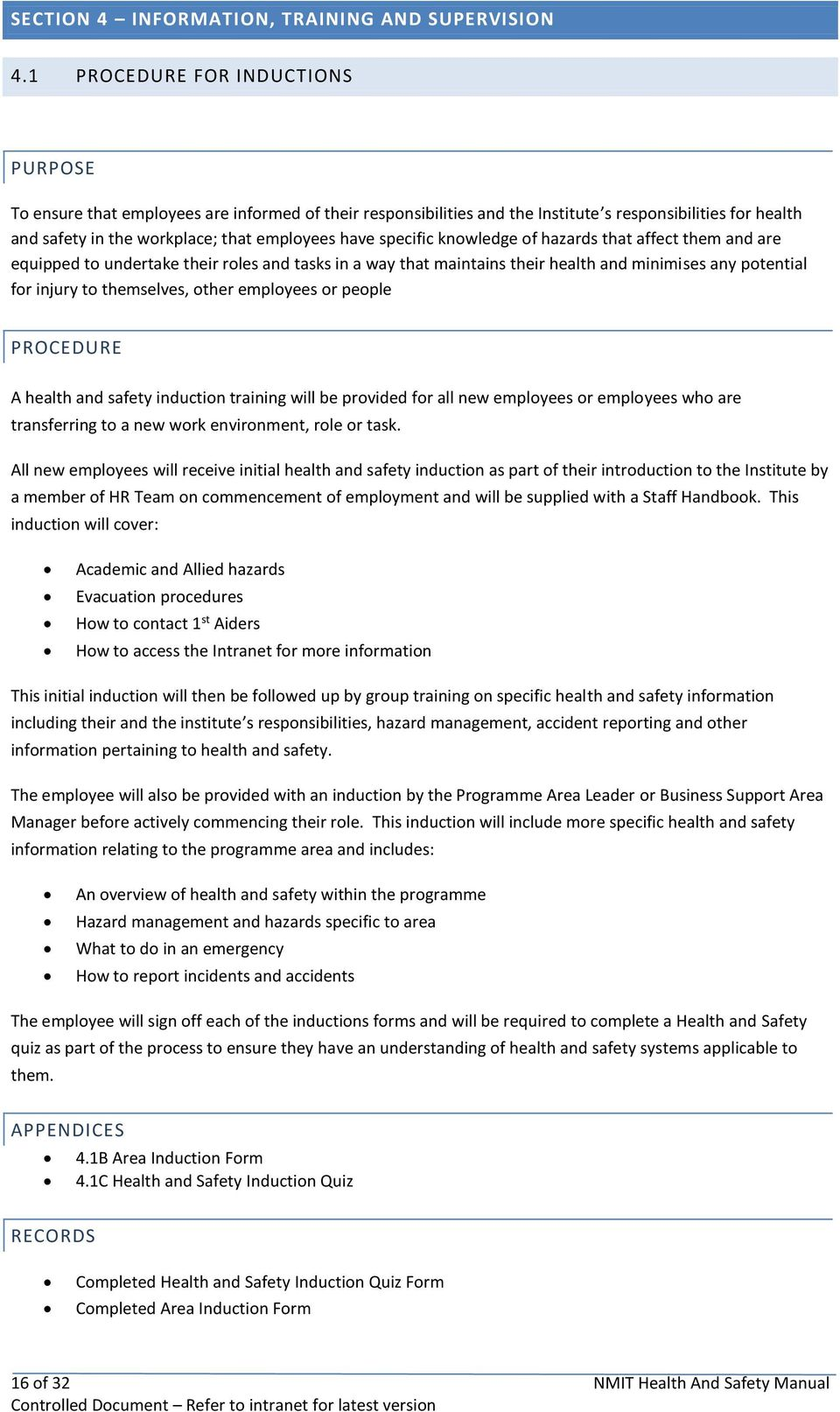 NMIT HEALTH AND SAFETY MANUAL - PDF