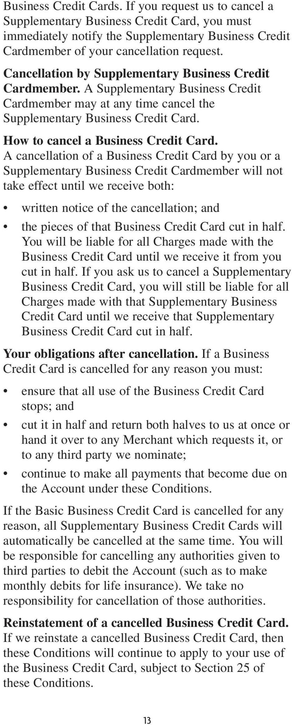 How to cancel a Business Credit Card.