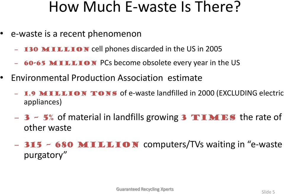 obsolete every year in the US Environmental Production Association estimate 1.