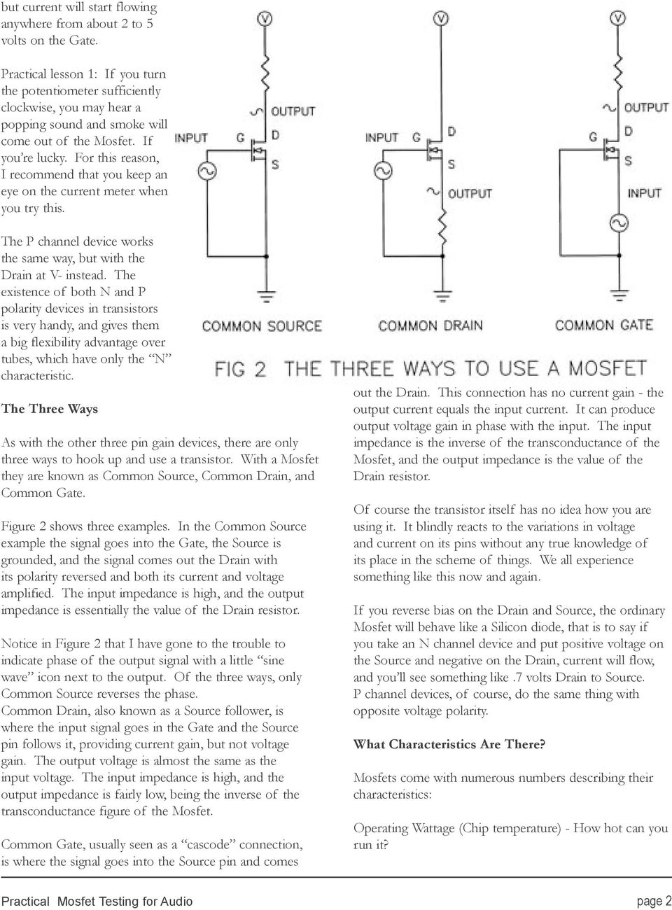 Practical Mosfet Testing For Audio Pdf Transistors Pchannel Drainsource Polarity In Power Switch This Reason I Recommend That You Keep An Eye On The Current Meter When