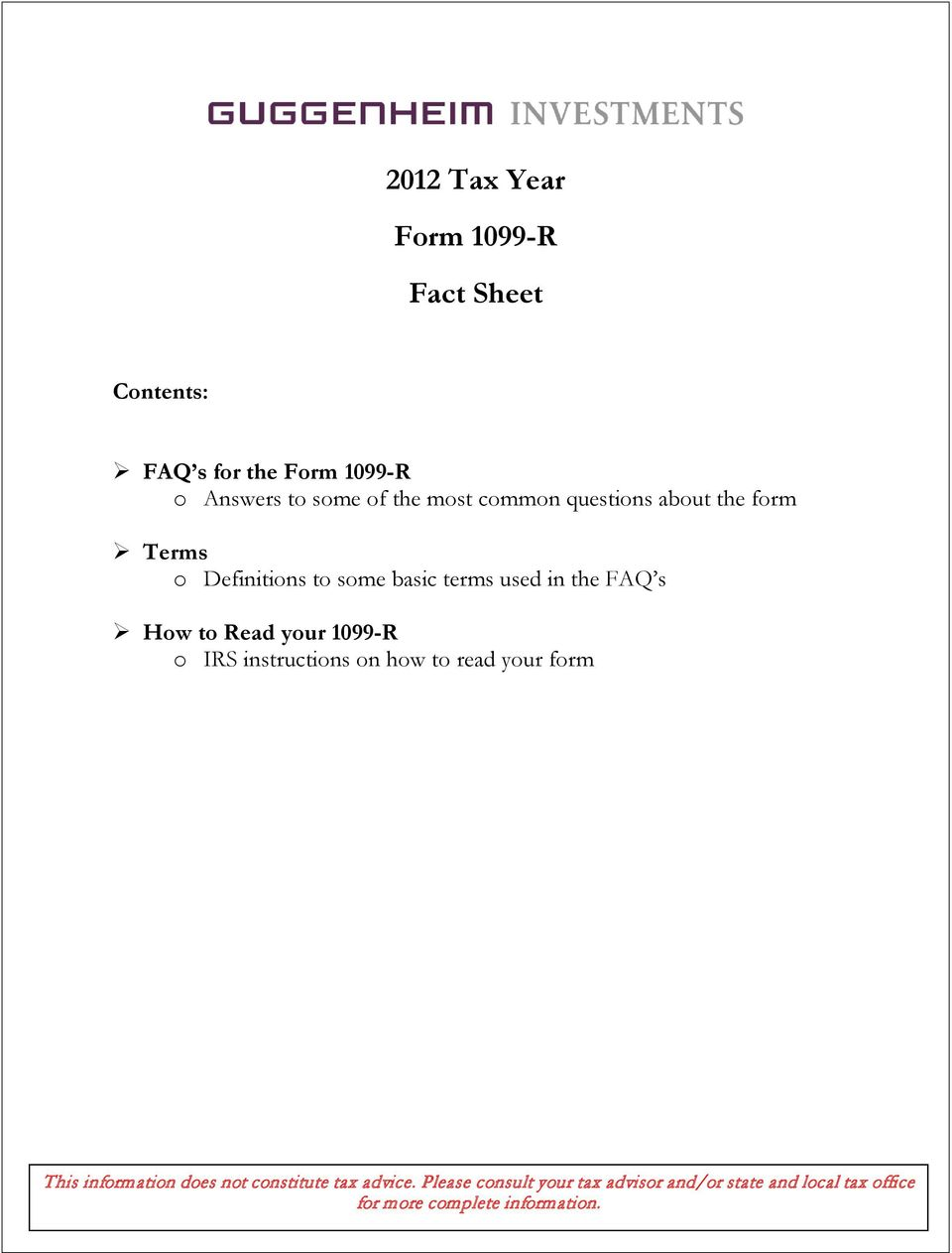 2012 Tax Year Form 1099-R Fact Sheet - PDF