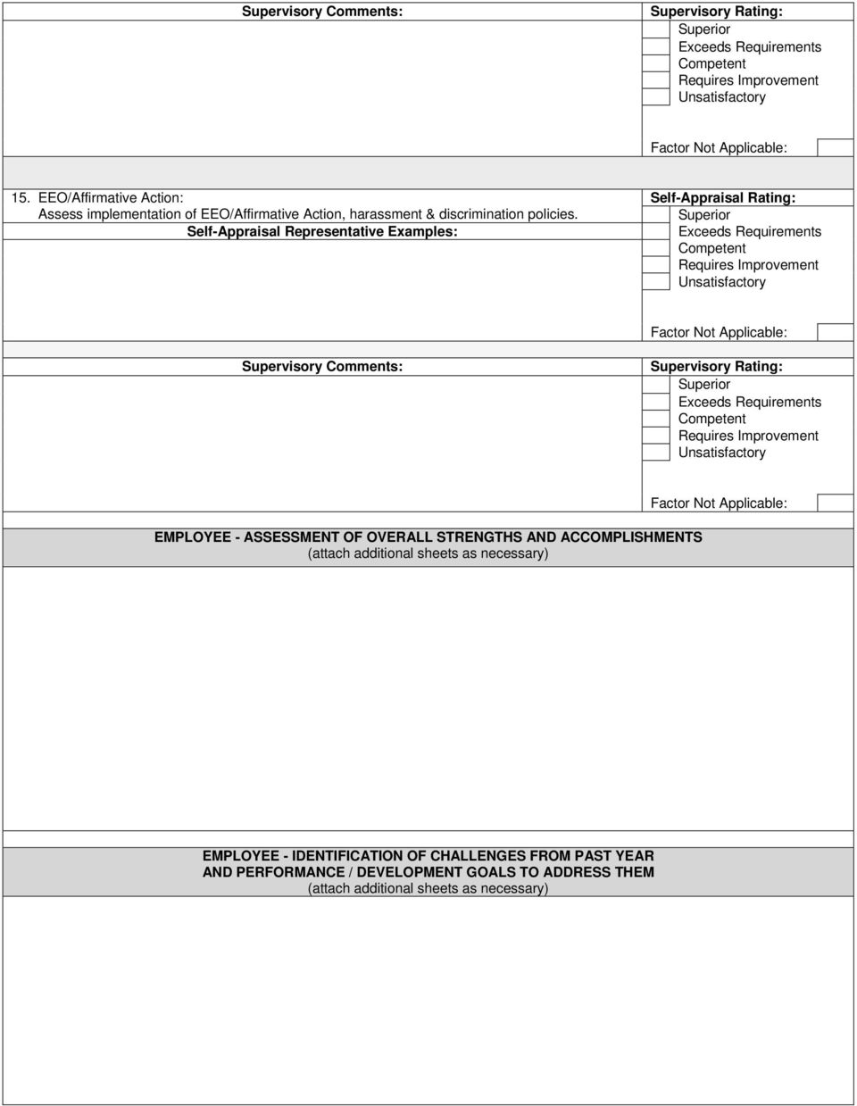 EMPLOYEE - ASSESSMENT OF OVERALL STRENGTHS AND ACCOMPLISHMENTS (attach additional sheets
