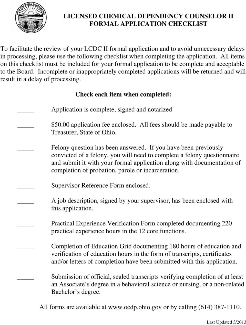 LICENSED CHEMICAL DEPENDENCY COUNSELOR II FORMAL APPLICATION - PDF