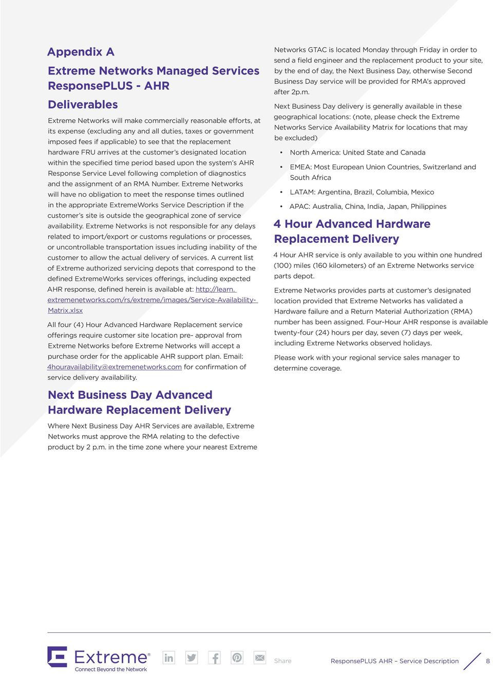 ExtremeWorks Managed Services ResponsePLUS - AHR (Advanced