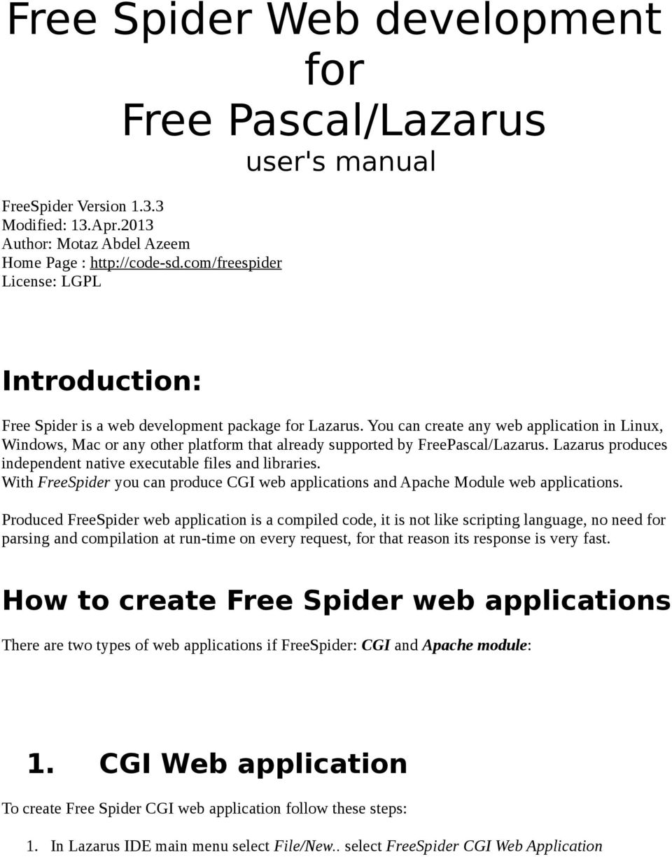 Free Spider Web development for Free Pascal/Lazarus user's manual - PDF