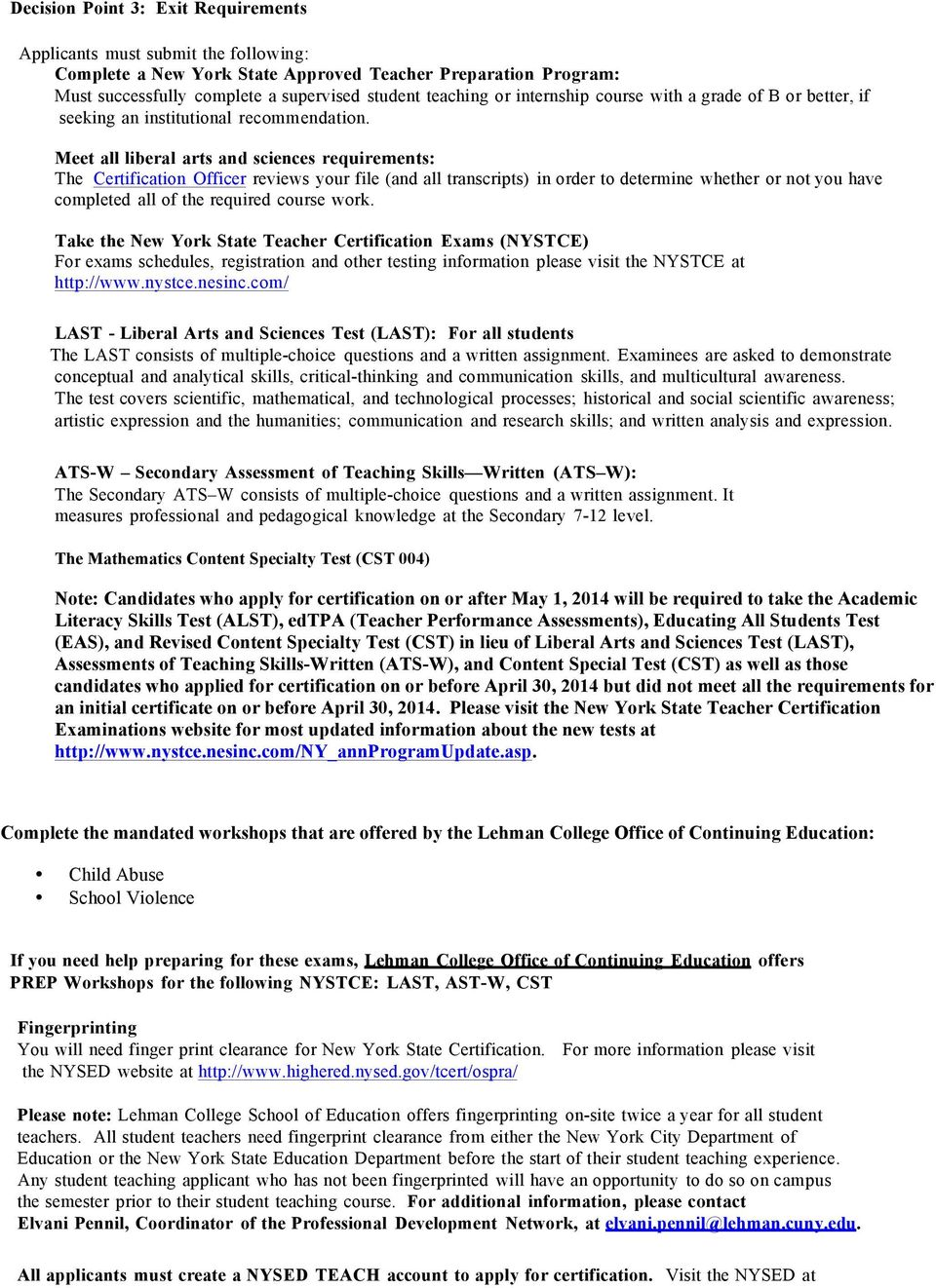 Lehman College School Of Education Advising Worksheet Program