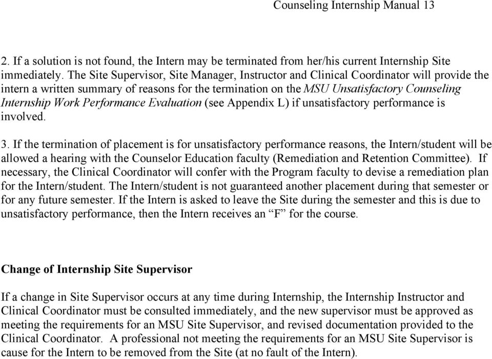Performance Evaluation (see Appendix L) if unsatisfactory performance is involved. 3.