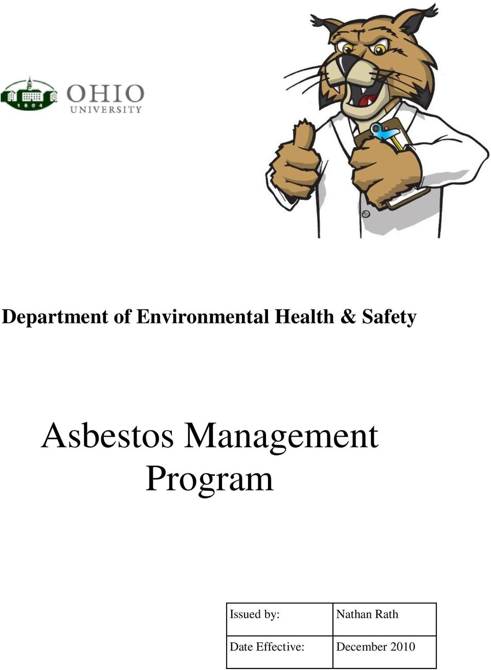 Management Program Issued by: