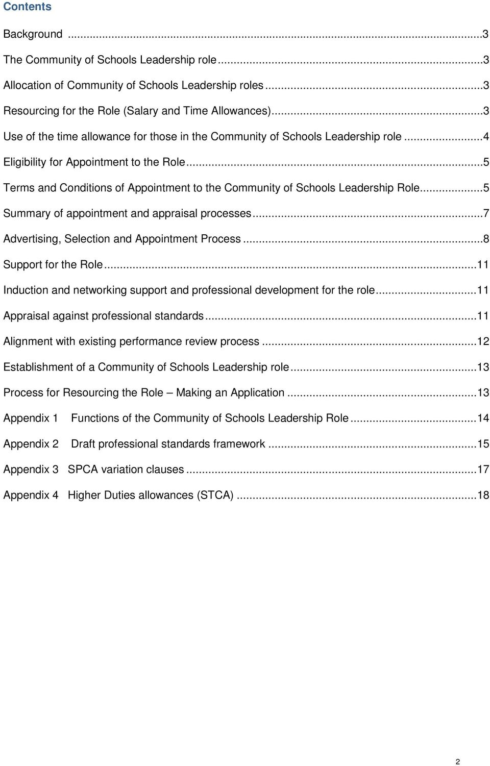 Guidelines for the appointment to the Community of Schools
