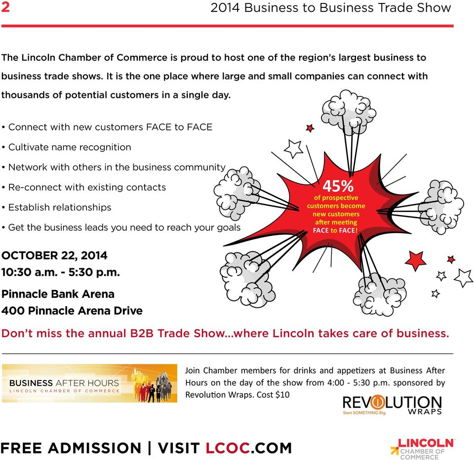 LINCOLN CHAMBER OF COMMERCE 2014 B2B TRADE SHOW OCTOBER 22 10:30