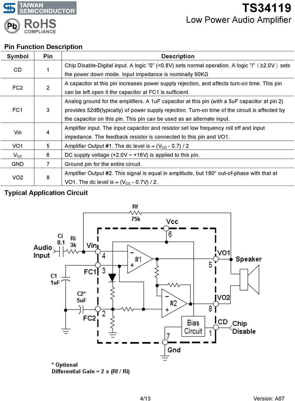 Ts34119 Low Power Audio Amplifier Pdf Circuit Using 741 Op Amp A 12 Watt Operating On Dual Fc1 3 Analog Ground For The Amplifiers 1uf Capacitor At This Pin With