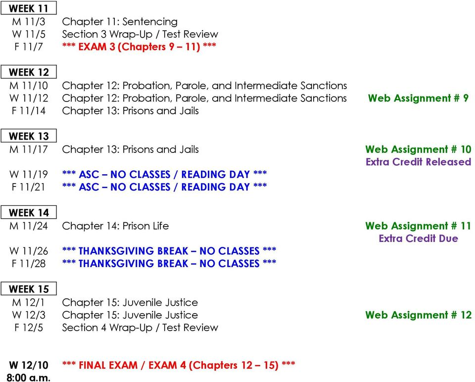 Released W 11/19 *** ASC NO CLASSES / READING DAY *** F 11/21 *** ASC NO CLASSES / READING DAY *** WEEK 14 M 11/24 Chapter 14: Prison Life Web Assignment # 11 Extra Credit Due W 11/26 ***