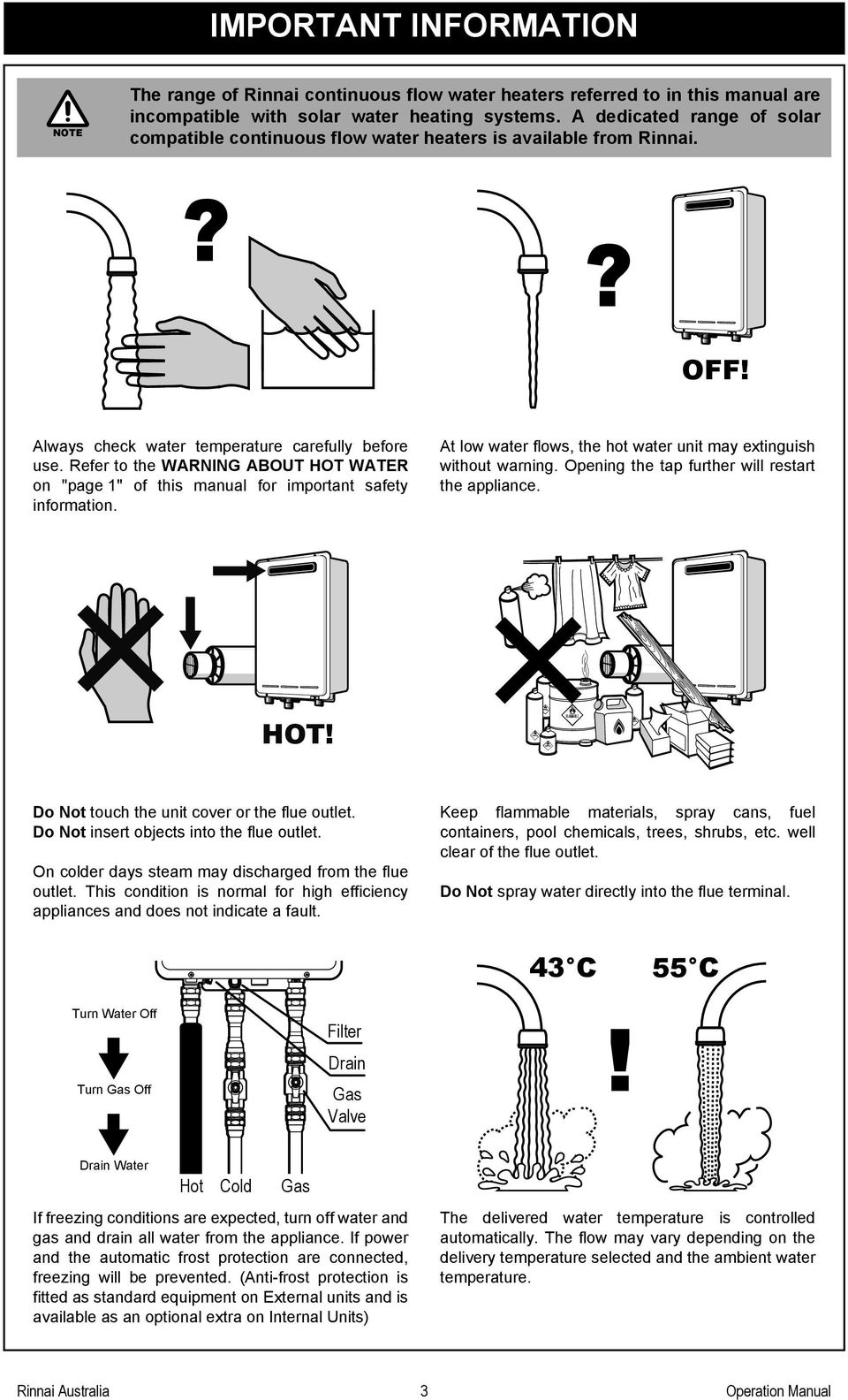 Operation Installation Manual Pdf Rinnai R85 Gas Valve Wiring Diagram Refer To The Warning About Hot Water On Page 1 Of This For