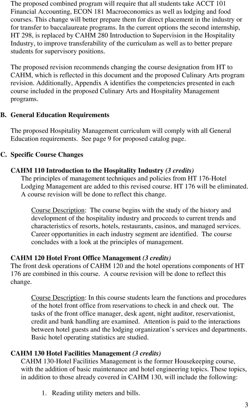 Proposal for Program Revision  Hospitality Management  Business and