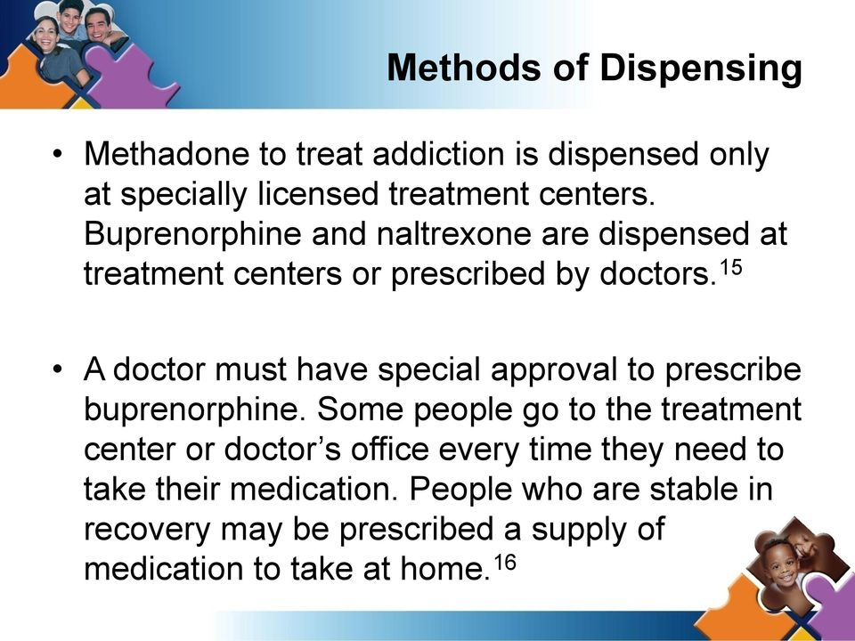 15 A doctor must have special approval to prescribe buprenorphine.