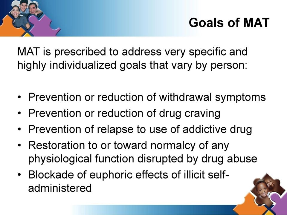craving Prevention of relapse to use of addictive drug Restoration to or toward normalcy of any