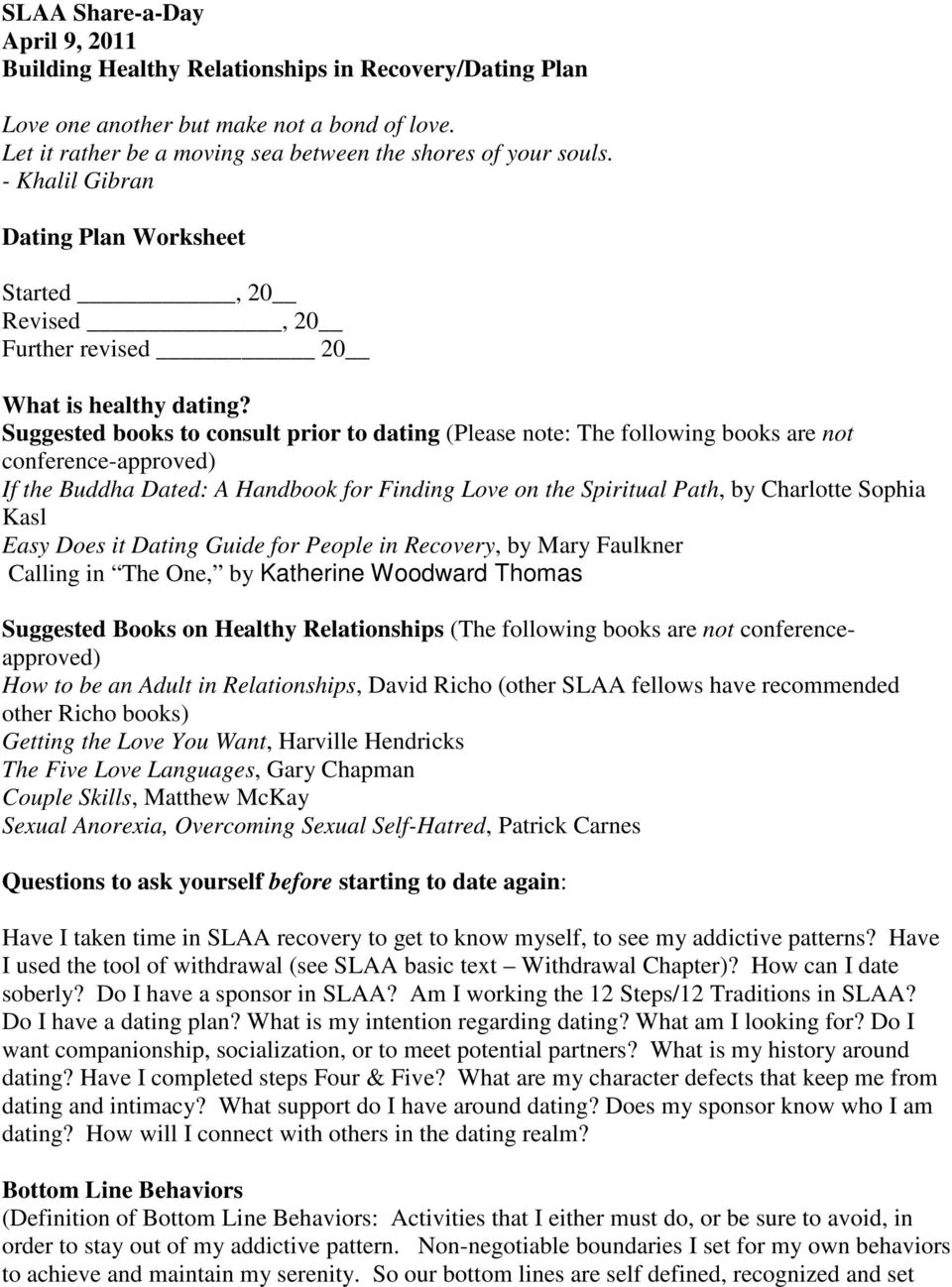 Worksheets Building Healthy Relationships Worksheet slaa share a day april 9 2011 building healthy relationships in suggested books to consult prior dating please note the following are not