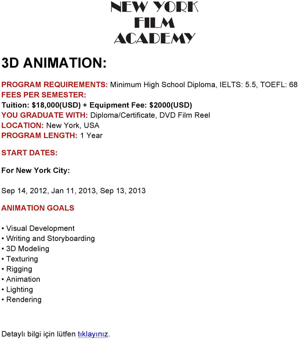 LOCATION: New York, USA ANIMATION GOALS Visual Development Writing