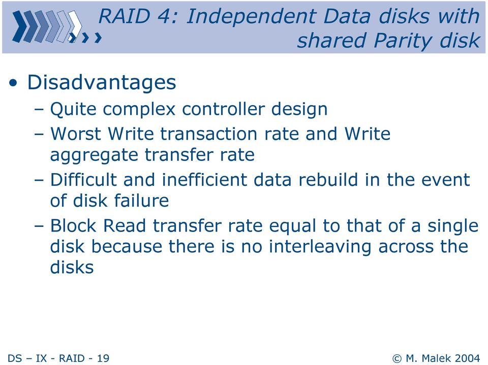 Difficult and inefficient data rebuild in the event of disk failure Block Read transfer