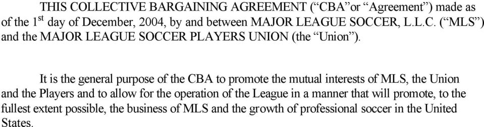Collective Bargaining Agreement Between Major League Soccer And