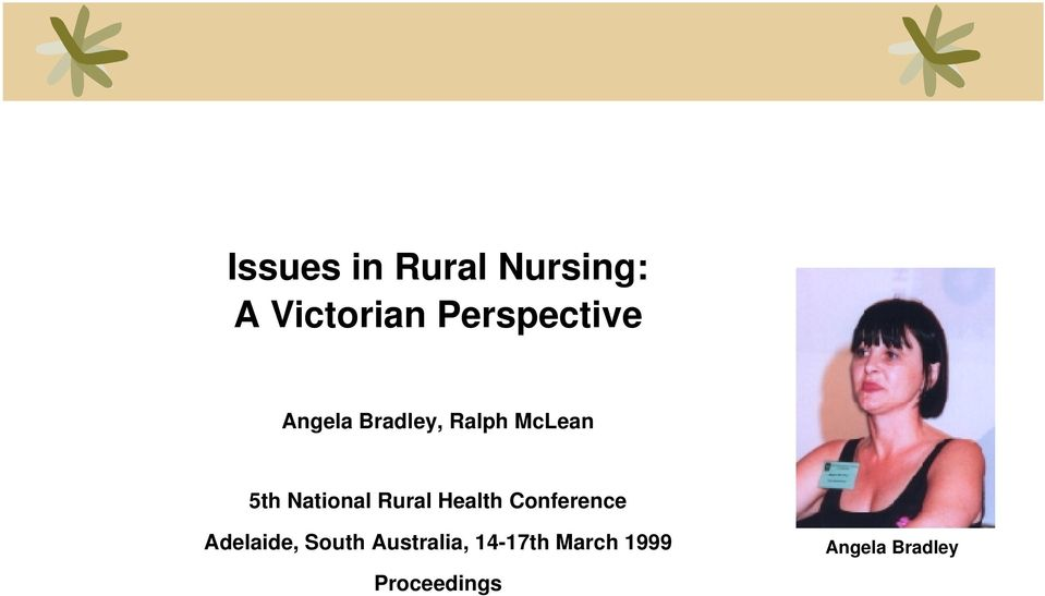 National Rural Health Conference Adelaide,