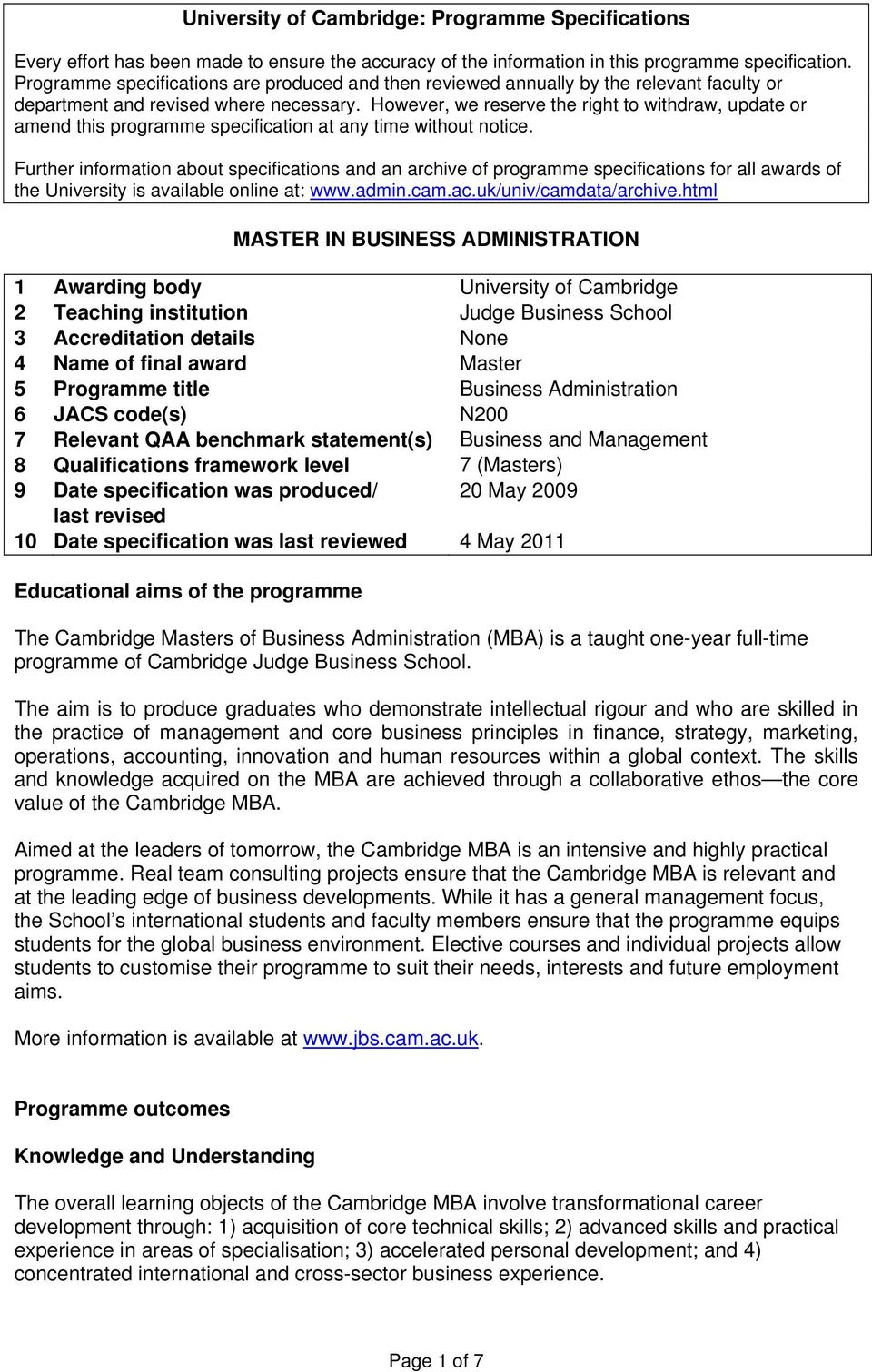 University Of Cambridge Programme Specifications Master In Business
