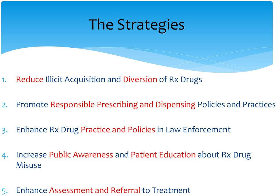 Enhance Rx Drug Practice and Policies in Law Enforcement 4.