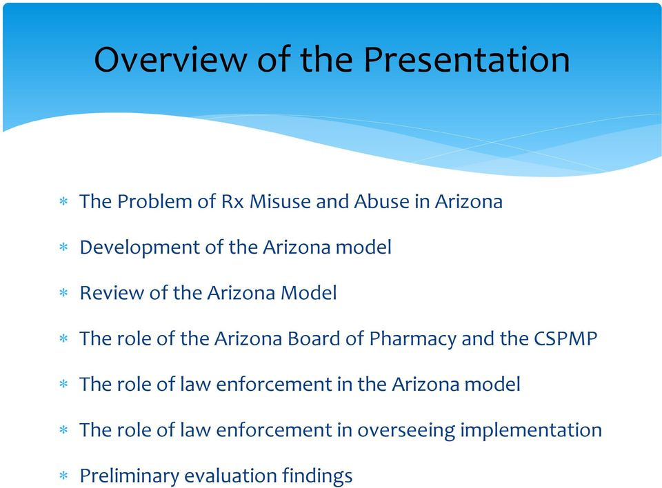 Arizona Board of Pharmacy and the CSPMP The role of law enforcement in the Arizona