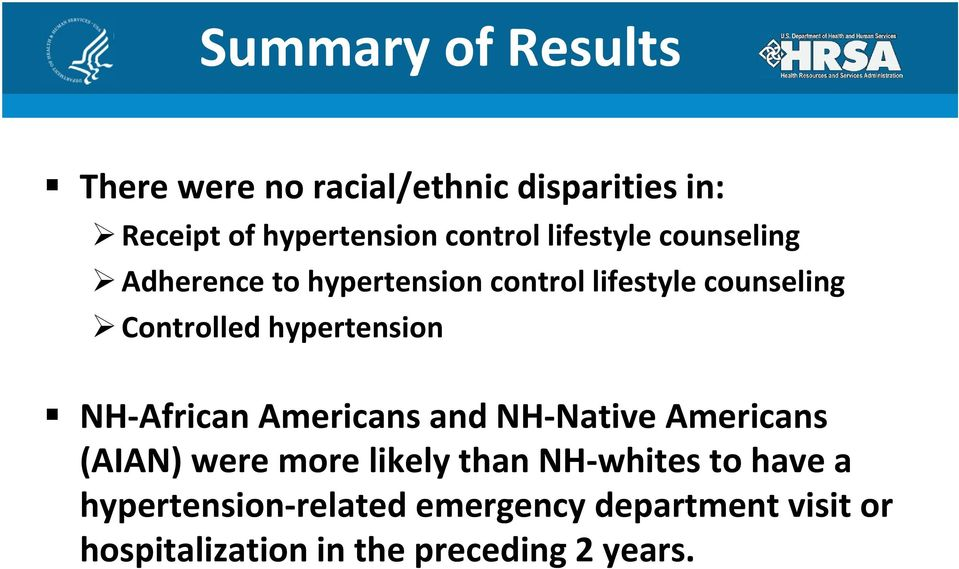 hypertension NH African Americans and NH Native Americans (AIAN) were more likely than NH