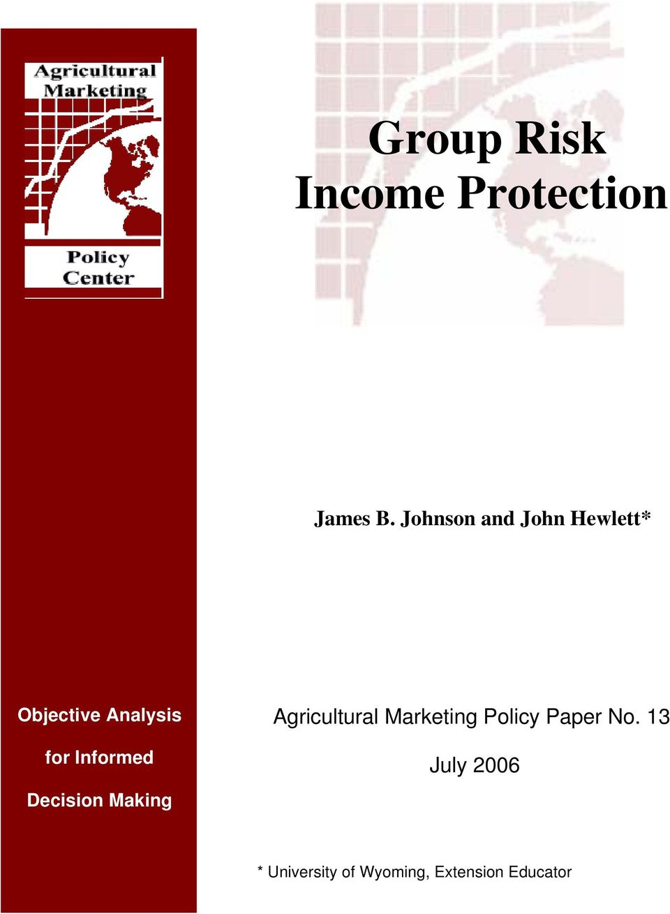 Informed Agricultural Marketing Policy Paper No.
