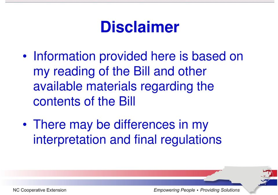 materials regarding the contents of the Bill There