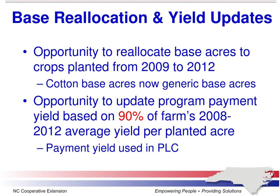 generic base acres Opportunity to update program payment yield based