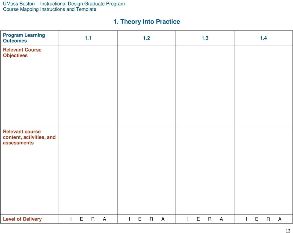 Course Mapping Instructions And Template Pdf Free Download