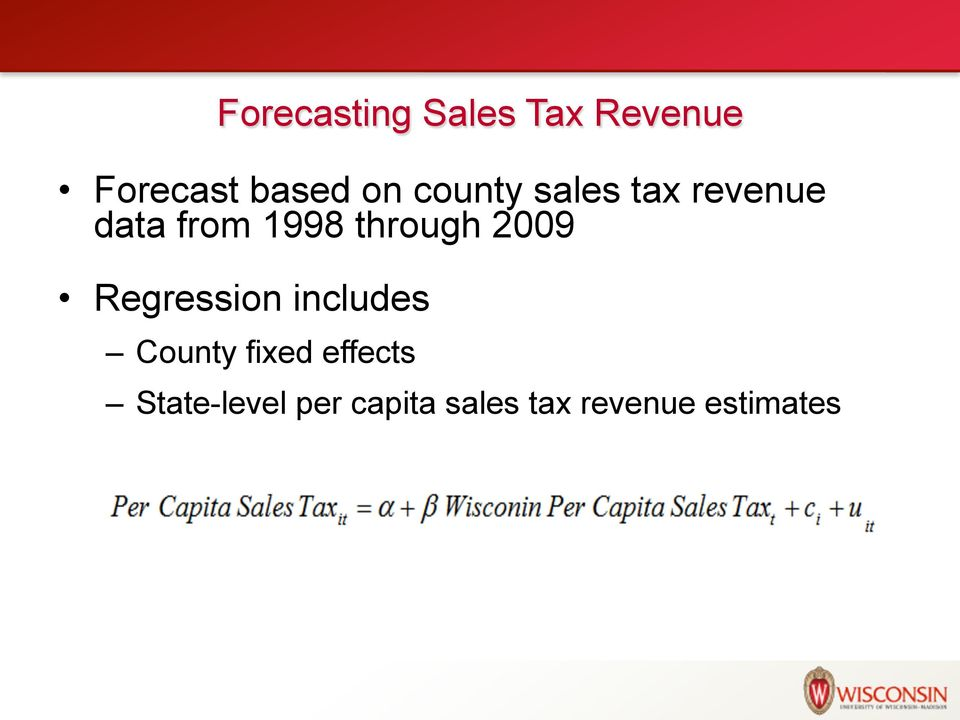 2009 Regression includes County fixed effects