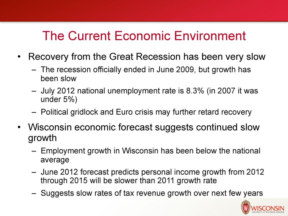 3% (in 2007 it was under 5%) Political gridlock and Euro crisis may further retard recovery Wisconsin economic forecast suggests continued slow