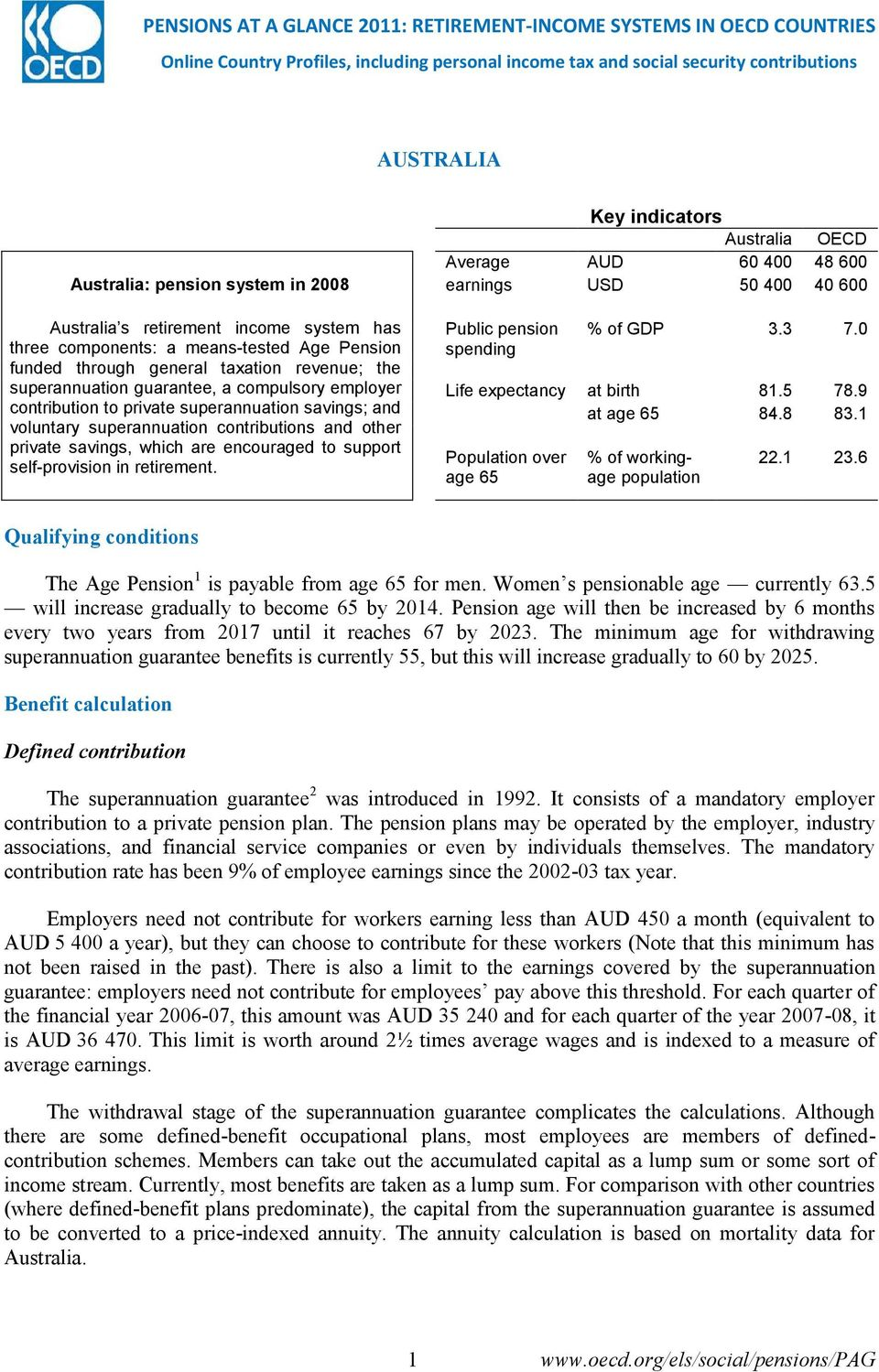 private superannuation savings; and voluntary superannuation contributions and other private savings, which are encouraged to support self-provision in retirement.