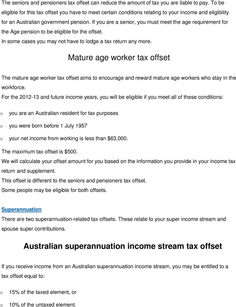 Mature age tax offset