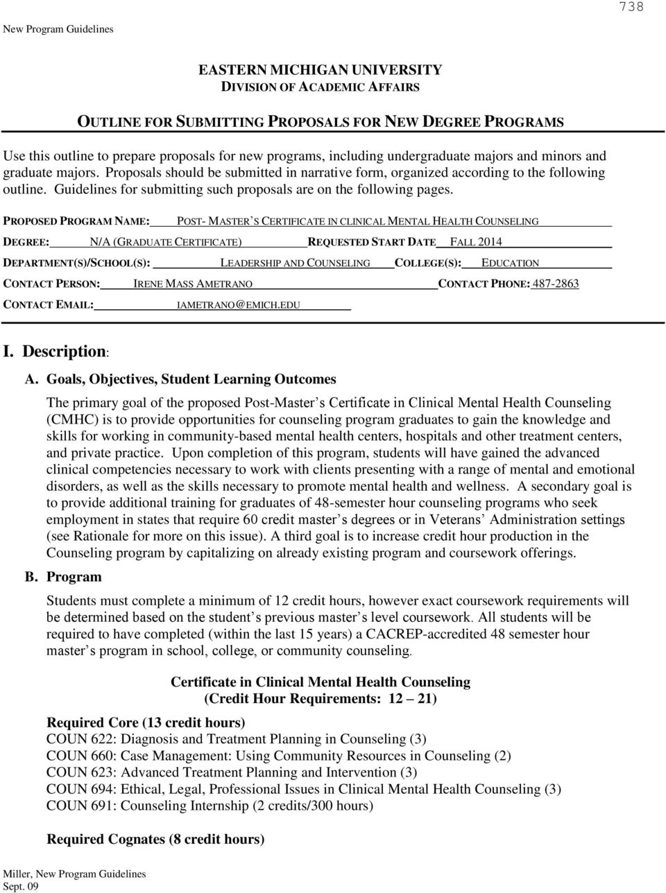 Eastern Michigan University Division Of Academic Affairs Proposal