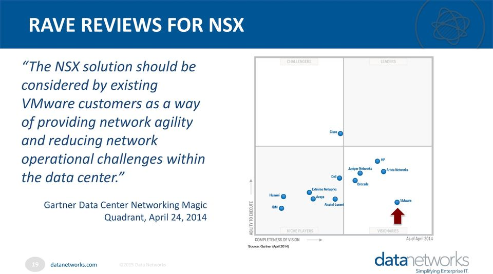 and reducing network operational challenges within the data