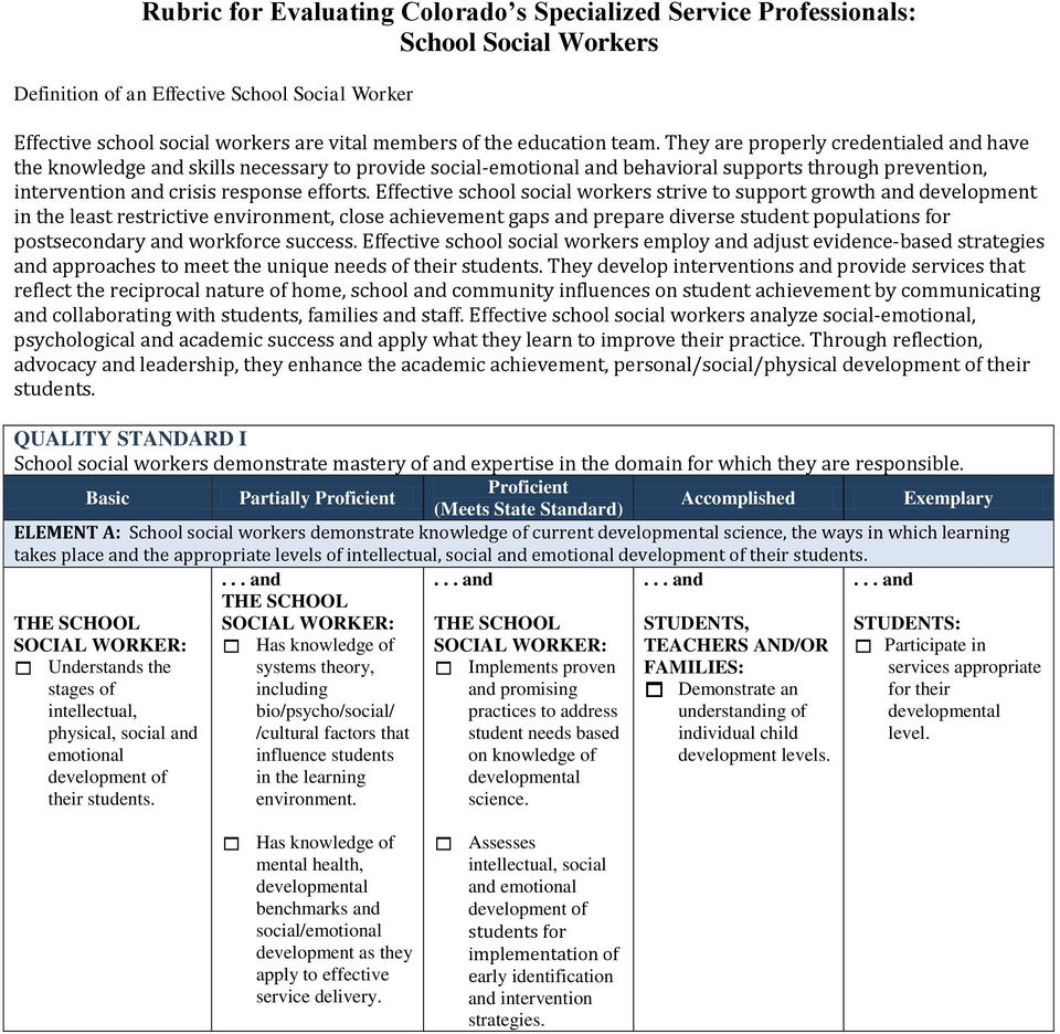 rubric for evaluating colorado s specialized service professionals