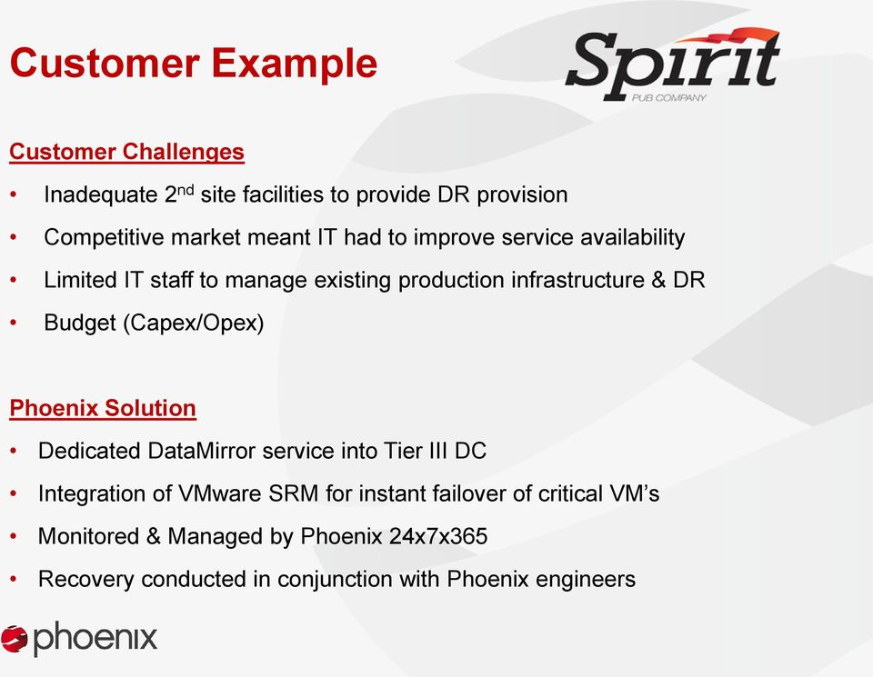 Budget (Capex/Opex) Phoenix Solution Dedicated DataMirror service into Tier III DC Integration of VMware SRM for