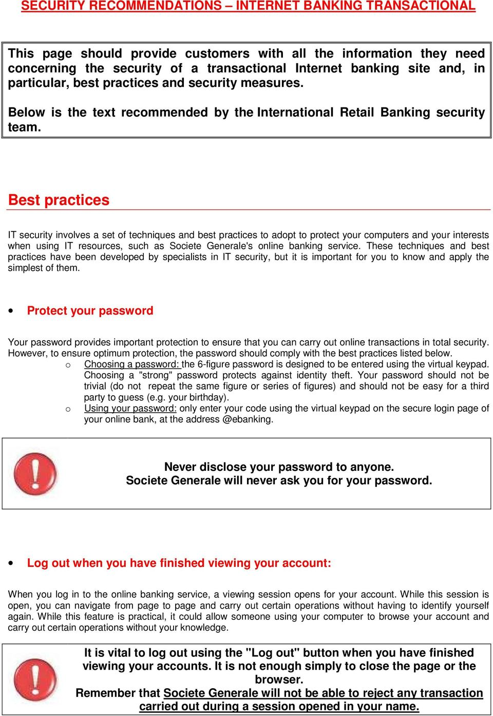 SECURITY RECOMMENDATIONS INTERNET BANKING TRANSACTIONAL - PDF