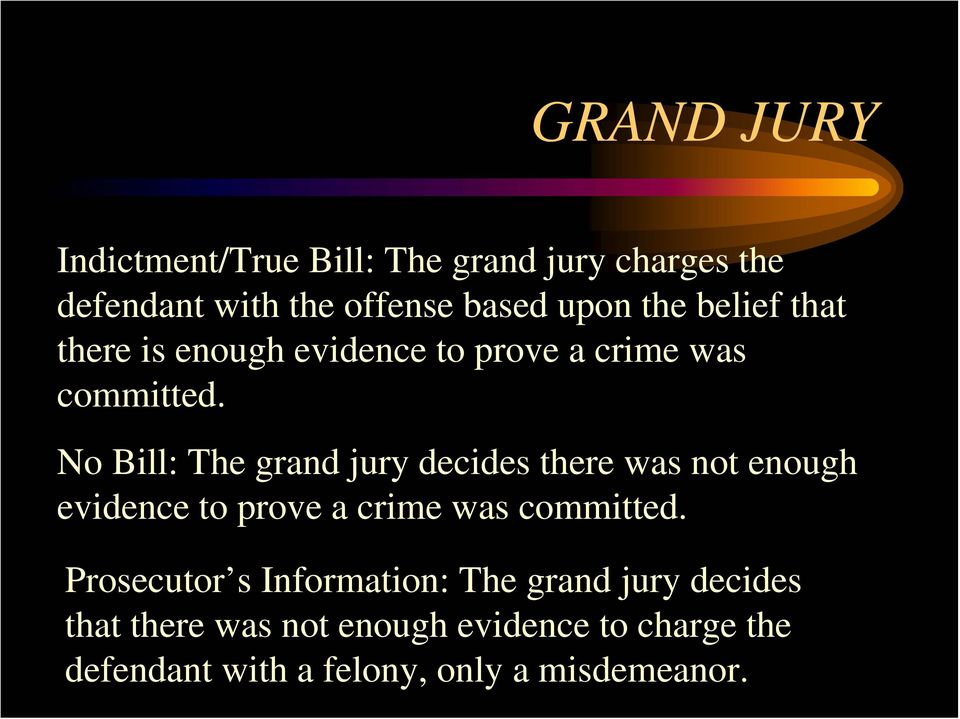 No Bill: The grand jury decides there was not enough evidence to prove a crime was committed.
