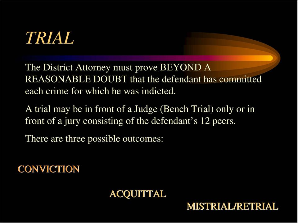 A trial may be in front of a Judge (Bench Trial) only or in front of a jury