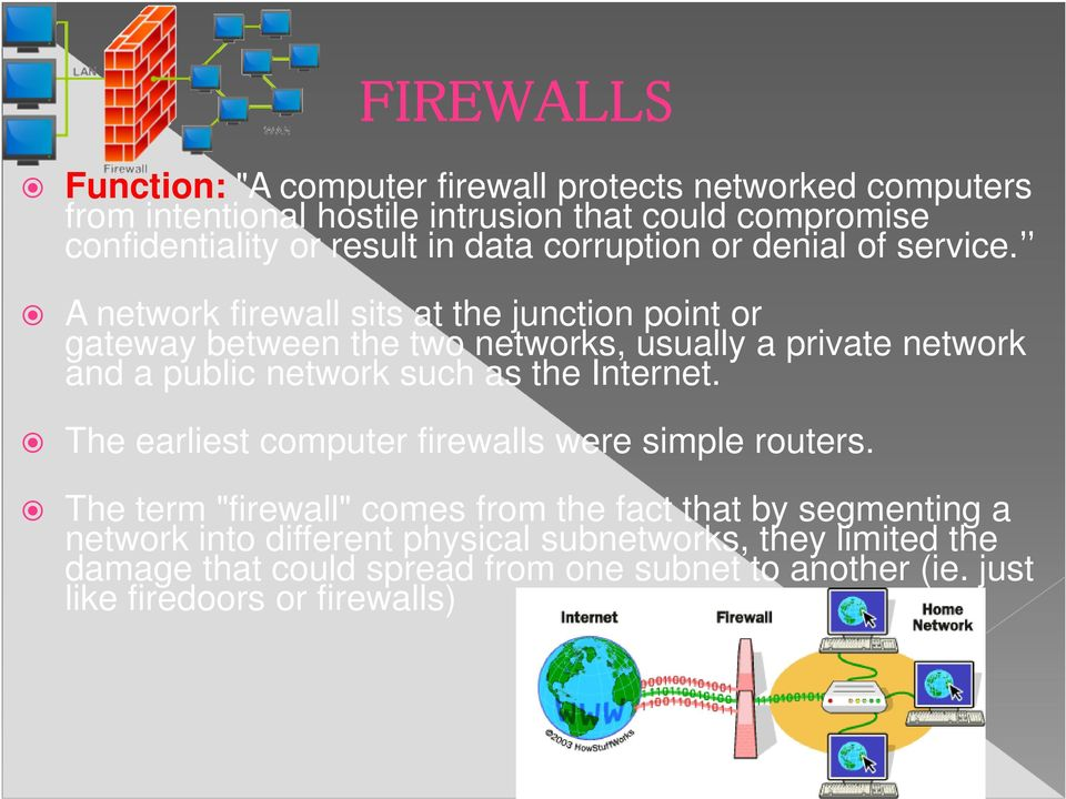 A network firewall sits at the junction point or gateway between the two networks, usually a private network and a public network such as the Internet.