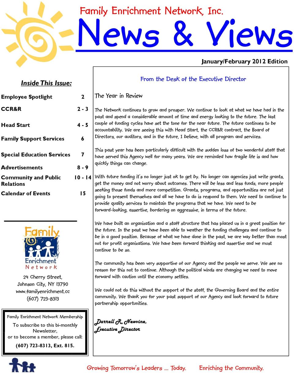 News & Views  Family Enrichment Network, Inc  From the Desk