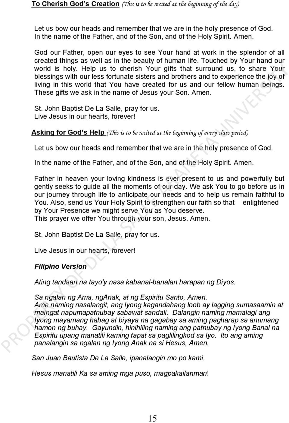 Chapter 1 Introduction A St John Baptist De La Salle The Founder Hand Towel Anak Character God Our Father Open Eyes To See Your At Work In Splendor